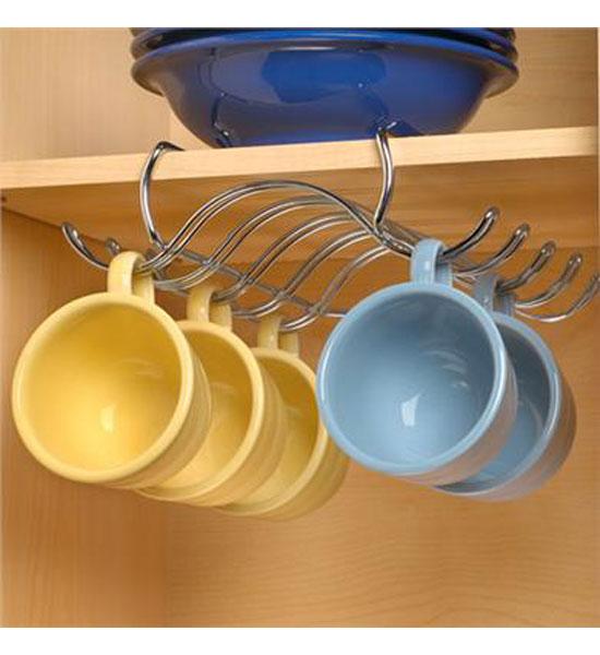 6 Hooks Cup Holder Hang Kitchen Cabinet Under Shelf: Organizeit.com Organization Products